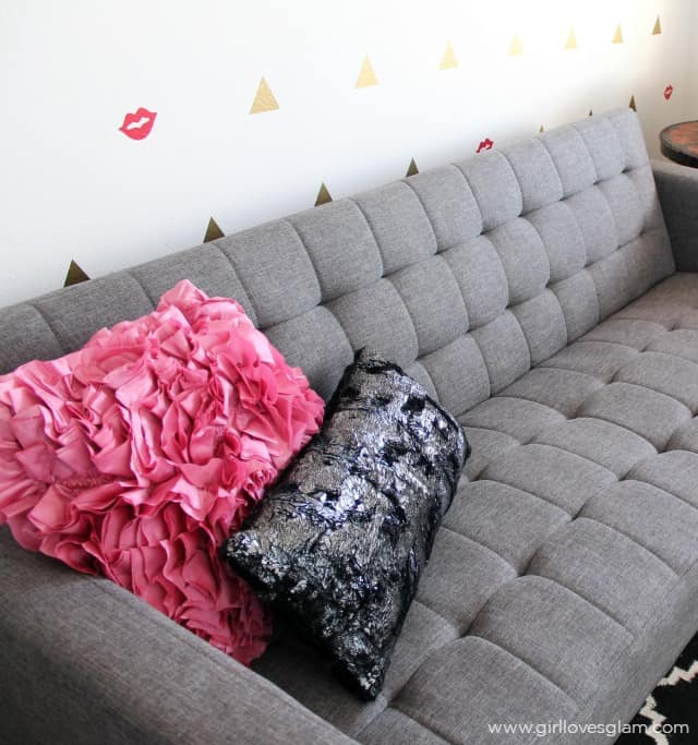 Modern Couch Shiny Textured Pillows on www.girllovesglam.com