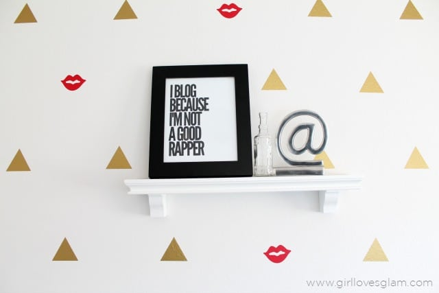Modern Office Decor with Geometric Wall treatment on www.girllovesglam.com
