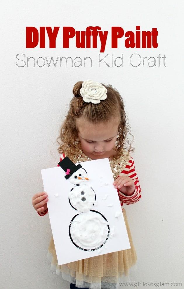 DIY Puffy Paint Snowman Kid Craft on www.girllovesglam.com