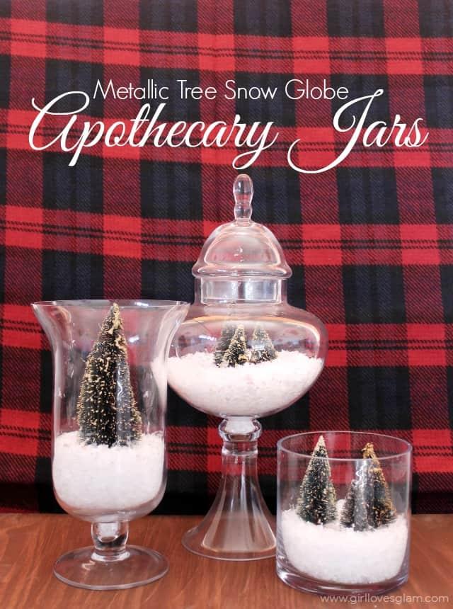 Metallic Tree Snow Globe Apothecary Jars