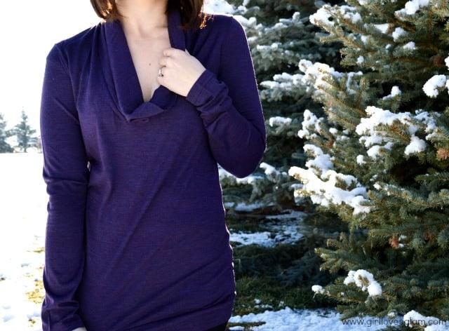 Cowl neck icebreaker top on www.girllovesglam.com