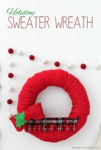 Holiday Sweater Wreath Tutorial on www.girllovesglam.com