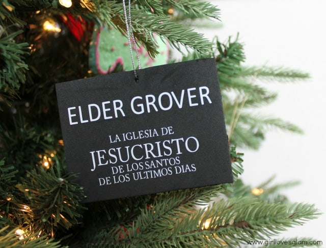 LDS Missionary Tag Ornament on www.girllovesglam.com