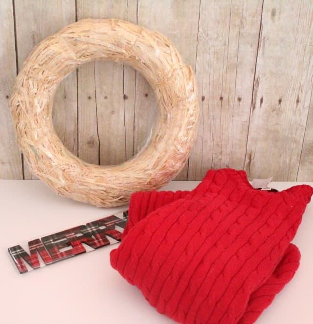 Sweater wreath supplies