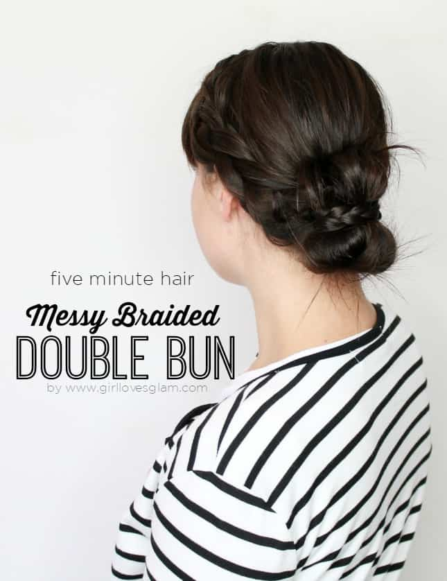 Messy Braided Double Bun on www.girllovesglam.com