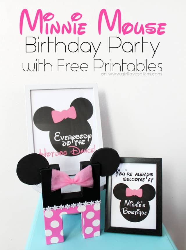 Minnie Mouse Birthday Party with Free Printables on www.girllovesglam.com