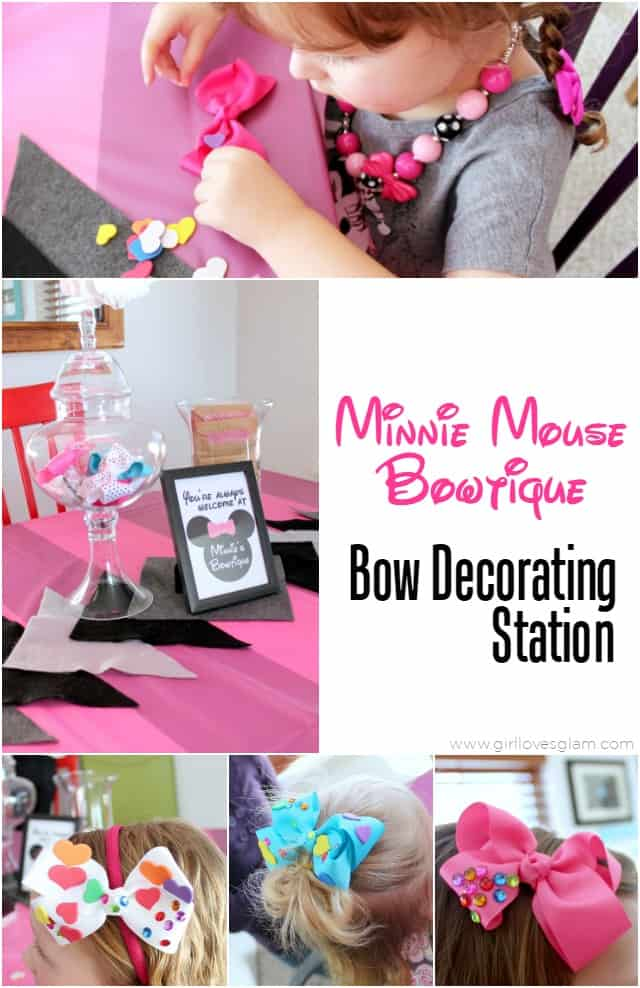 Minnie Mouse Bowtique Bow Decorating Station Party on www.girllovesglam.com