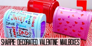 Sharpie Decorated Valentine Mailboxes