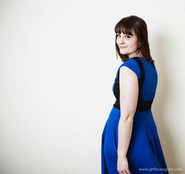 Cobalt Blue and Black eShakti Dress on www.girllovesglam.com