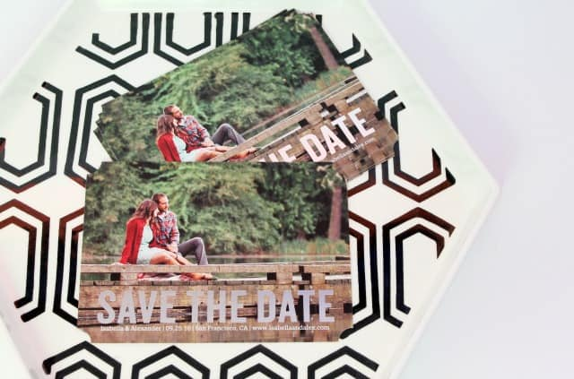 Shutterfly metallic save the date cards