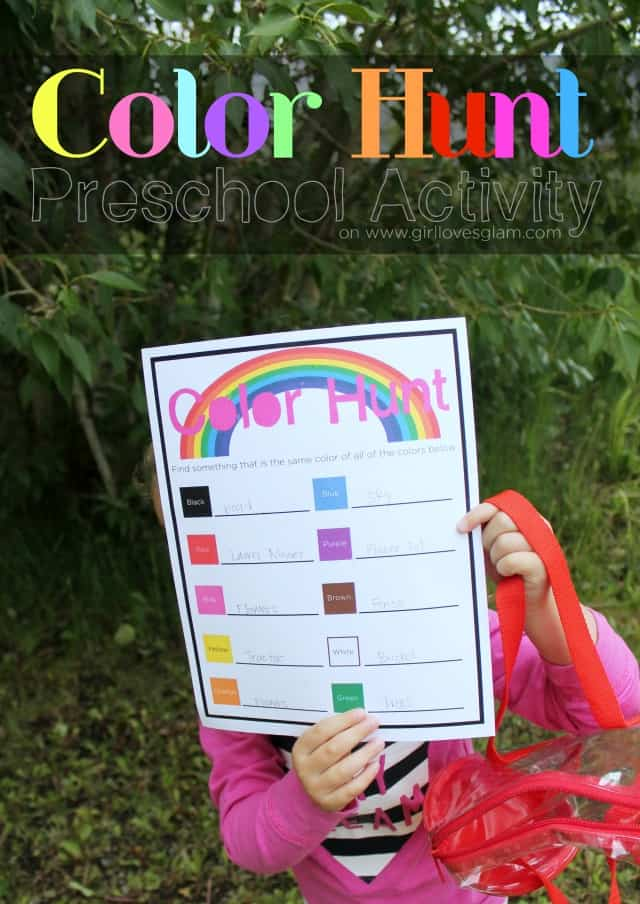 color hunt preschool with free printable on wwwgirllovesglamcom - Free Printable Preschool Activities