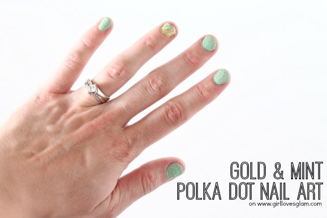 Gold and Mint Polka Dot Nail Art on www.girllovesglam.com