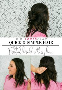 Fishtail Braid Messy Bun Quick and Simple Hair