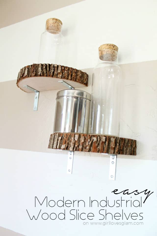 Modern Industrial Wood Slice Shelf Tutorial