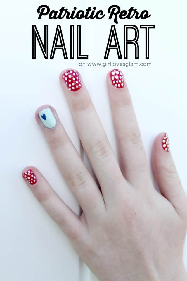 Patriotic Retro Nail Art. 4th of July Nail Art on www.girllovesglam.com