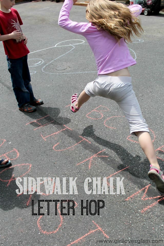 Sidewalk Chalk Letter Hop Game on www.girllovesglam.com