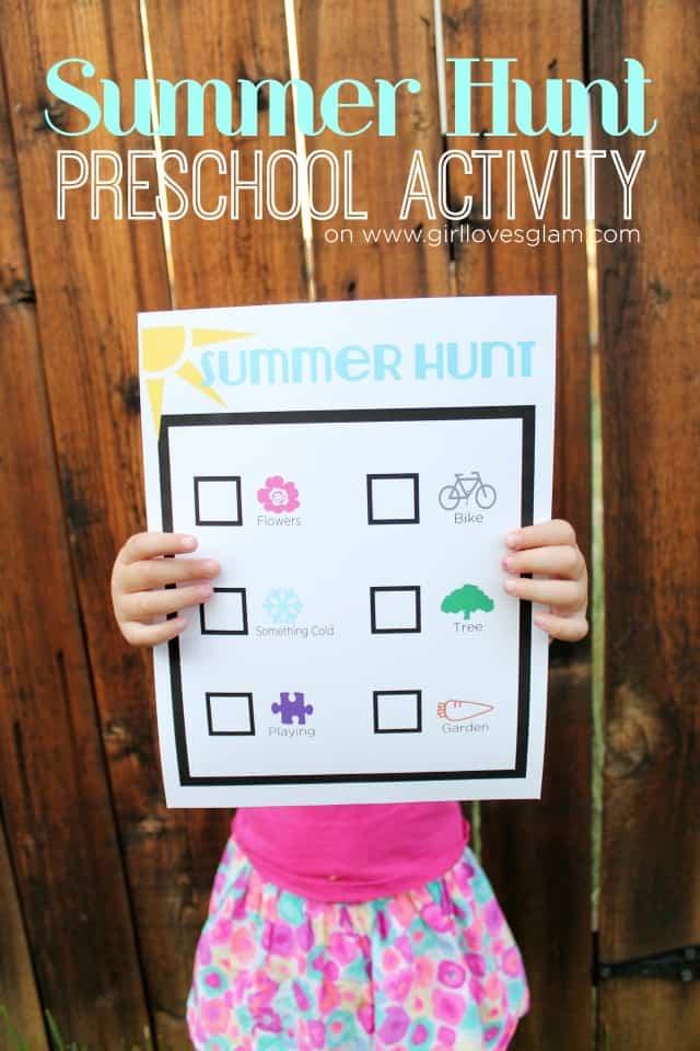 Summer Hunt Preschool Activity Printable on www.girllovesglam.com