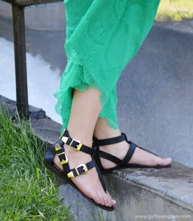 Black and Gold Gladiator Sandals on www.girllovesglam.com