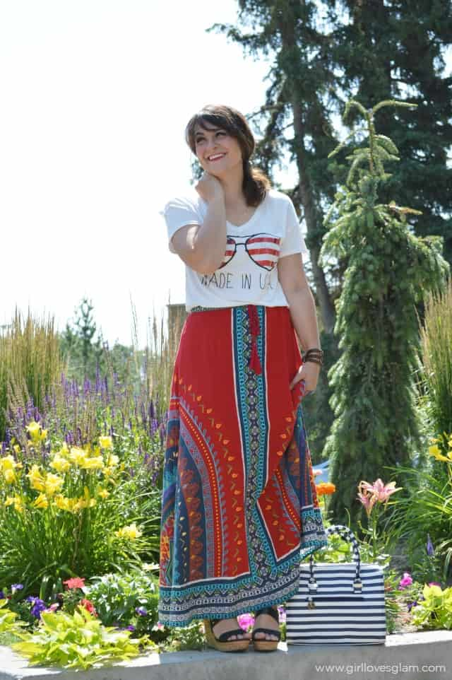 Casual Maxi Skirt with T-Shirt Outfit on www.girllovesglam.com