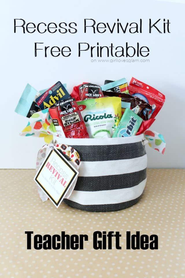 Recess Revival Kit Free Printable Teacher Gift Idea on www.girllovesglam.com #swissherbs