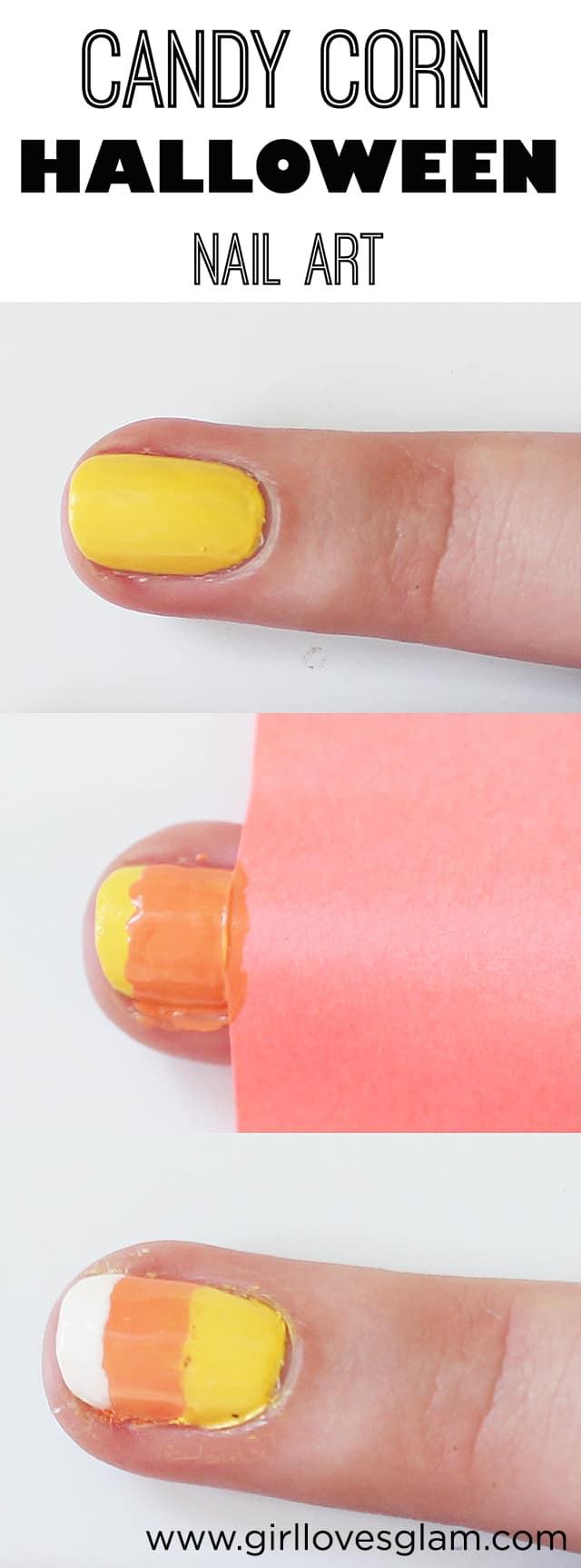 Candy Corn Nail Art on www.girllovesglam.com