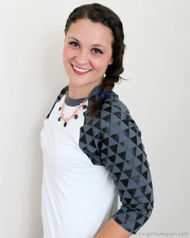 Geometric Baseball Tee Tutorial on www.girllovesglam.com