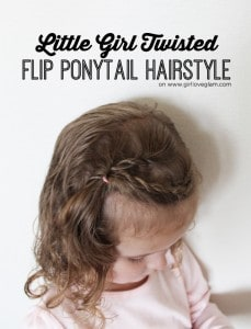 Little Girl Twisted Flip Ponytail Hairstyle on www.girllovesglam.com