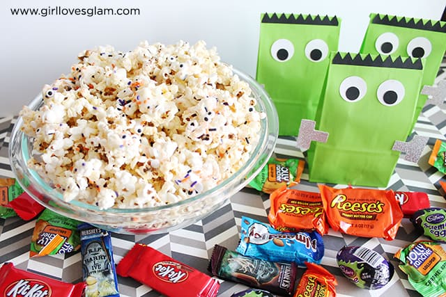 Halloween White Chocolate Popcorn and Frankenstein Bags on www.girllovesglam.com