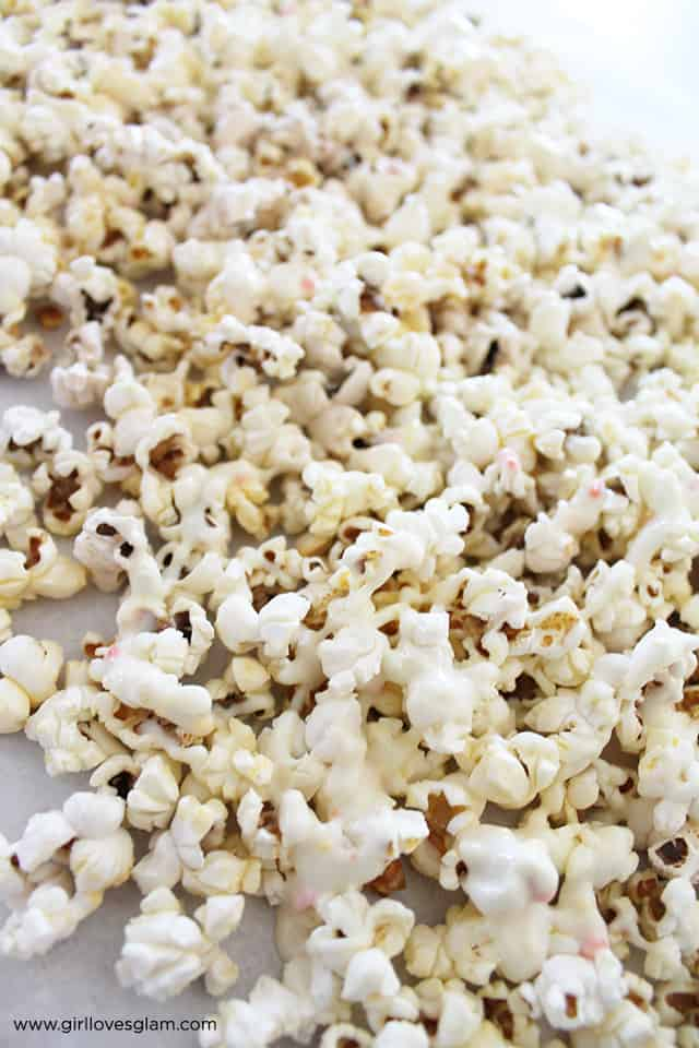Popcorn White Chocolate Candy Corn Halloween Treat on www.girllovesglam.com
