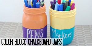 Color Block Chalkboard Mason Jars