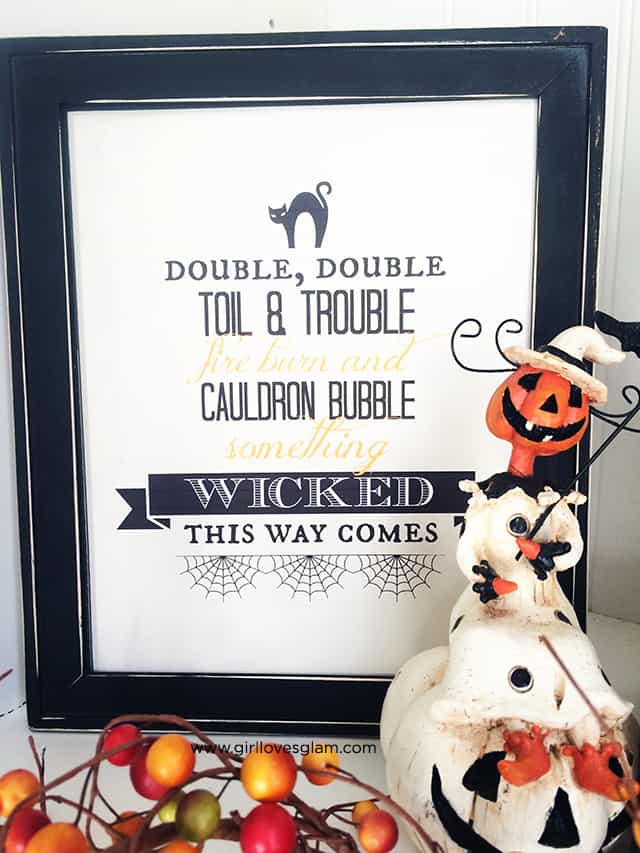 Double Double Toil and Trouble Halloween Printable on www.girllovesglam.com
