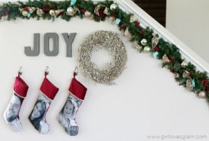 Christmas Decor Idea with Custom Stockings on www.girllovesglam.com