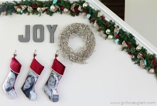 Christmas Decor Idea with Custom Stockings on www.girllovesglam.com
