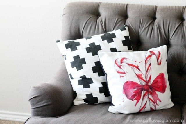 Custom Christmas Pillow Decor on www.girllovesglam.com