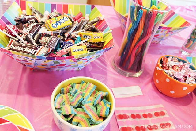 Sugar Rush Birthday Party Candy Bar and Favor Bags on www.girllovesglam.com