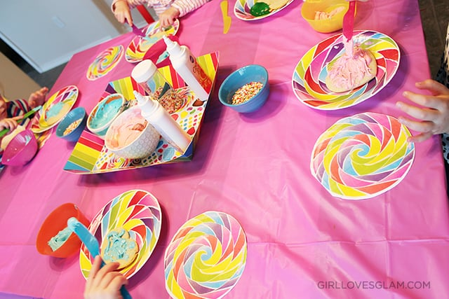 Sugar Rush Birthday Party Cookie Decorating Table on www.girllovesglam.com