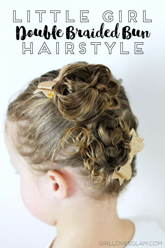 Little Girl Double Braided Bun Hairstyle on www.girllovesglam.com