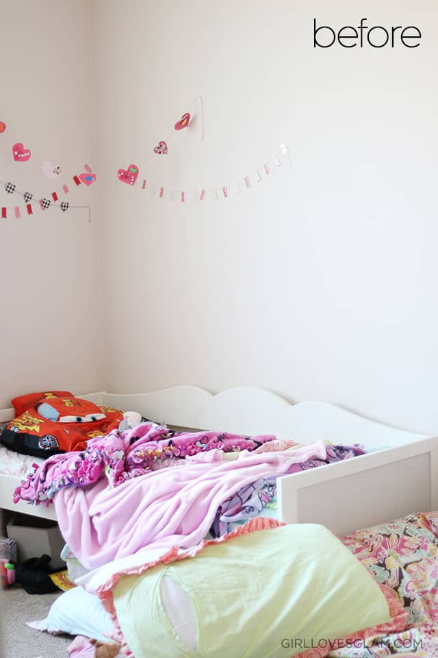 Little girl's bedroom before makeover on www.girllovesglam.com