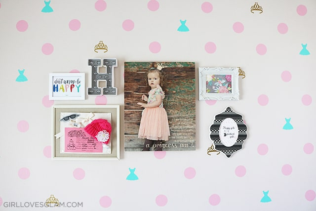 Little Girl Bedroom Gallery Wall on www.girllovesglam.com