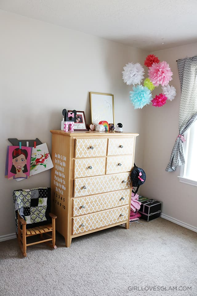 Little Girl Room Decorated Dresser on www.girllovesglam.com