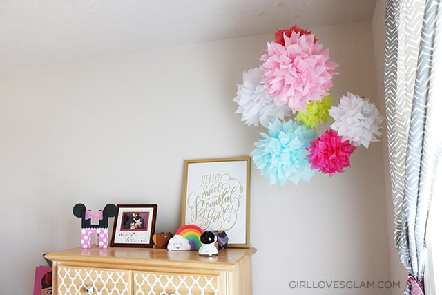 Little Girl's Room with Pom Poms on www.girllovesglam.com