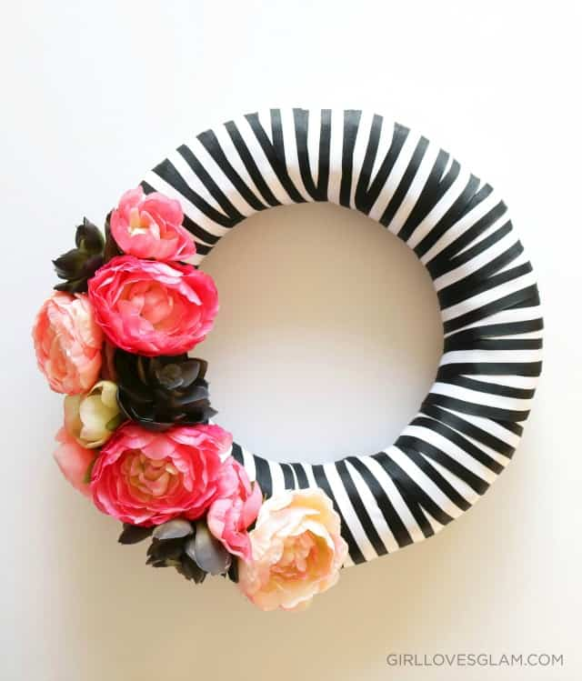 Spring Floral and Stripe Black and White Wreath