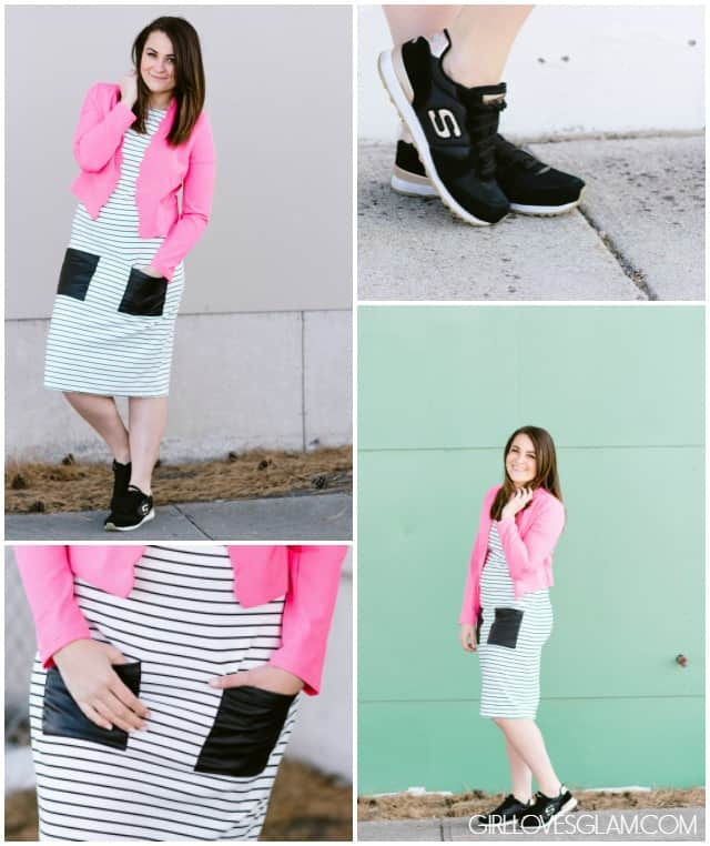 Styling a Dress with Sneakers on www.girllovesglam.com