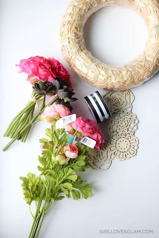 Stripe and Floral Wreath Supplies on www.girllovesglam.com