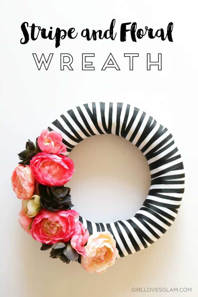 Stripe and Floral Wreath Tutorial on www.girllovesglam.com