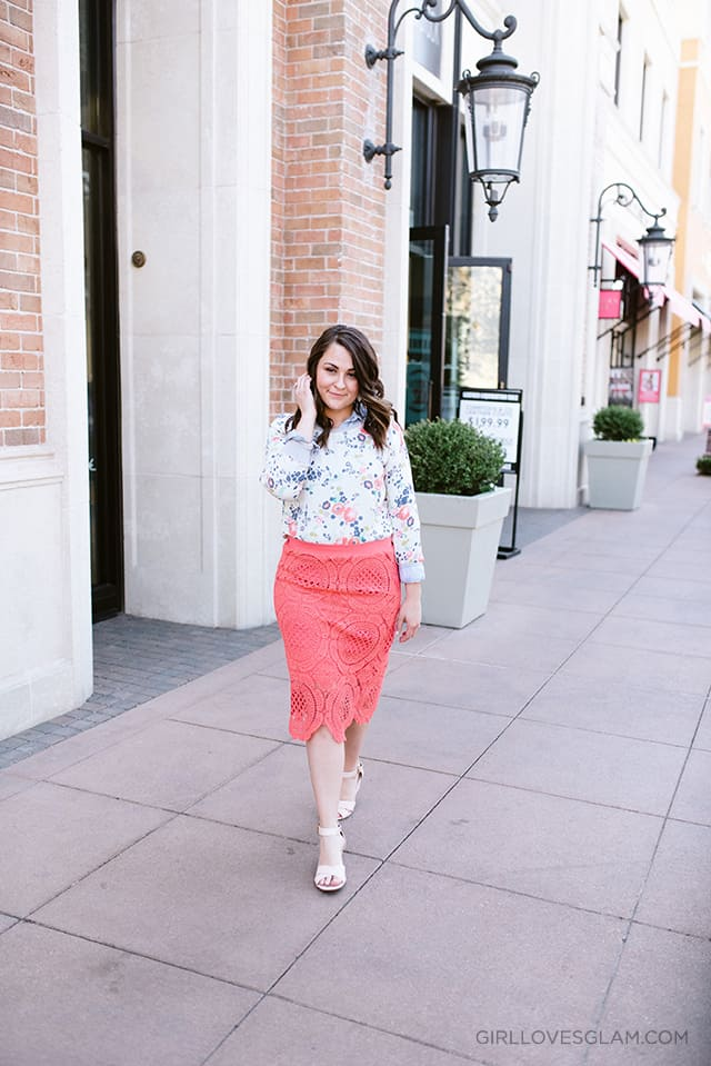 Spring Lace Skirt Outfit on www.girllovesglam.com