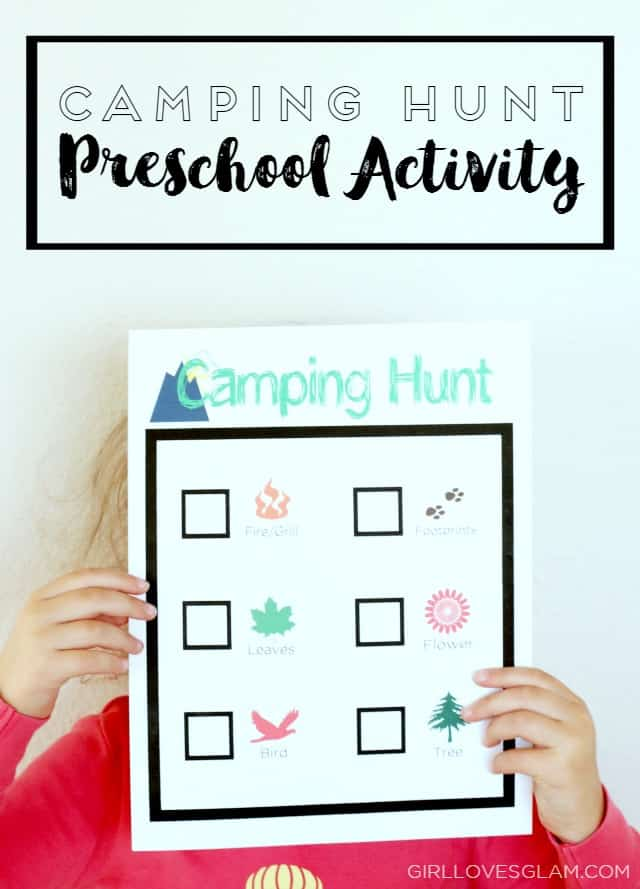 Camping Hunt Preschool Activity on www.girllovesglam.com