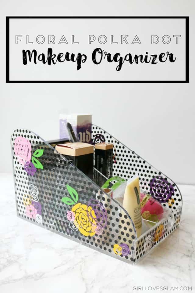 Floral Polka Dot Makeup Organizer
