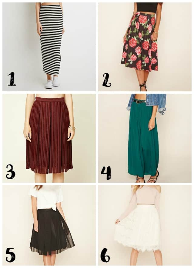 Modest Skirt Options at Forever 21 on www.girllovesglam.com