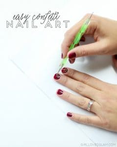 Easy Confetti Nail Art Tutorial on www.girllovesglam.com